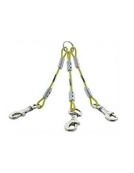 Accouple 3 chiens câble gaine Canihunt jaune